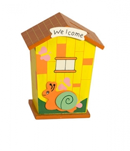 Welcome Little Yellow house with a snail cartoon on the front door